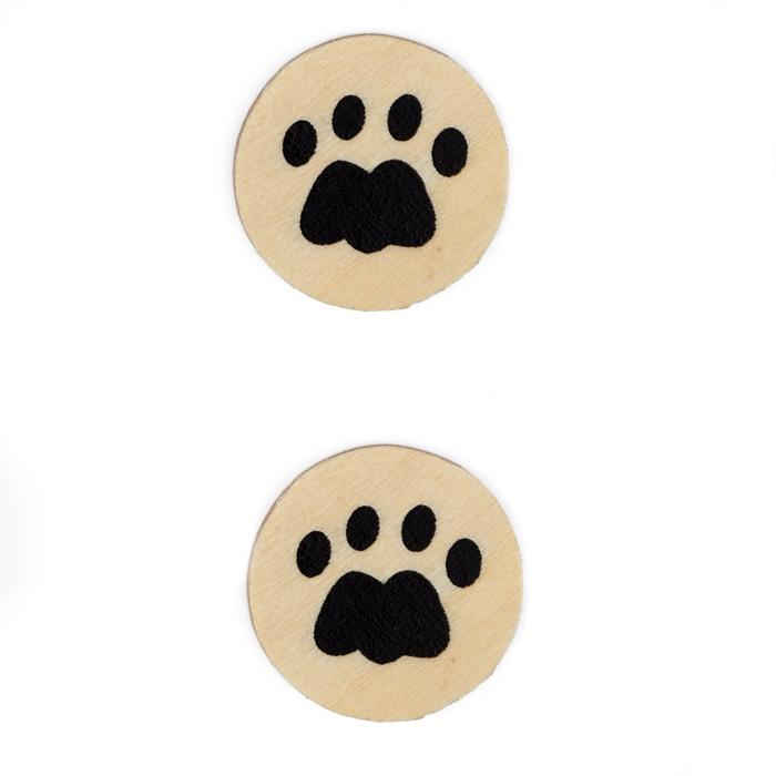 Wood Button 1'' Tiger Paw Natural