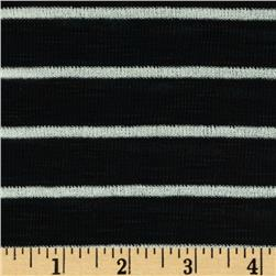 Designer Yarn Dyed Stripe Slub Baby Rib Knit Black/White