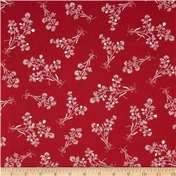 Red Floral Toss Red Fabric