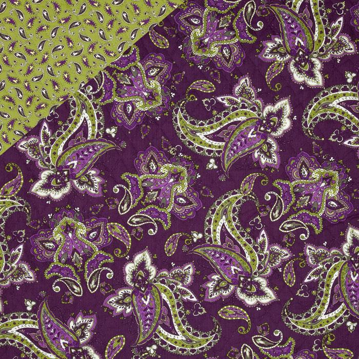 St. Croix Double-Sided Quilted Paisley Lime/Purple
