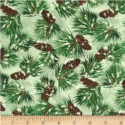 Winter Gathering Snowy Branches Green Fabric