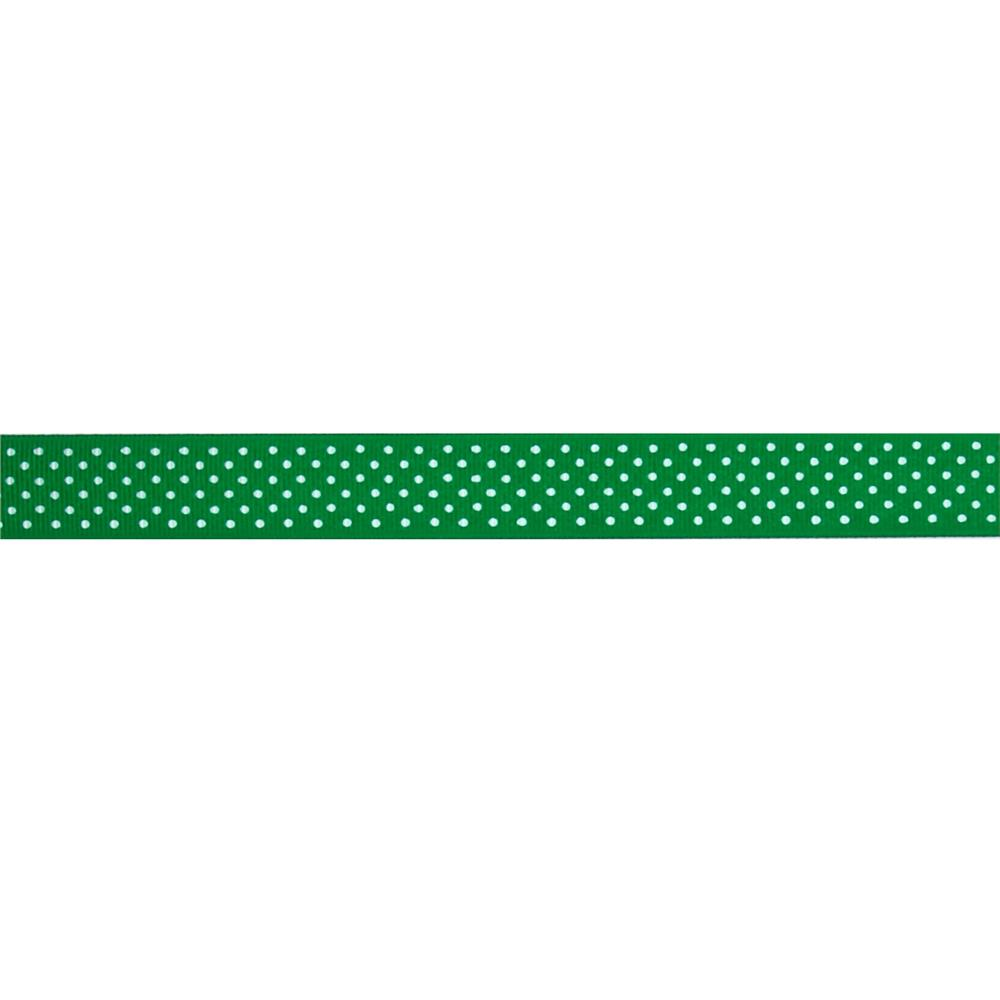 "7/8"" Grosgrain Swiss Dot Ribbon Emerald"
