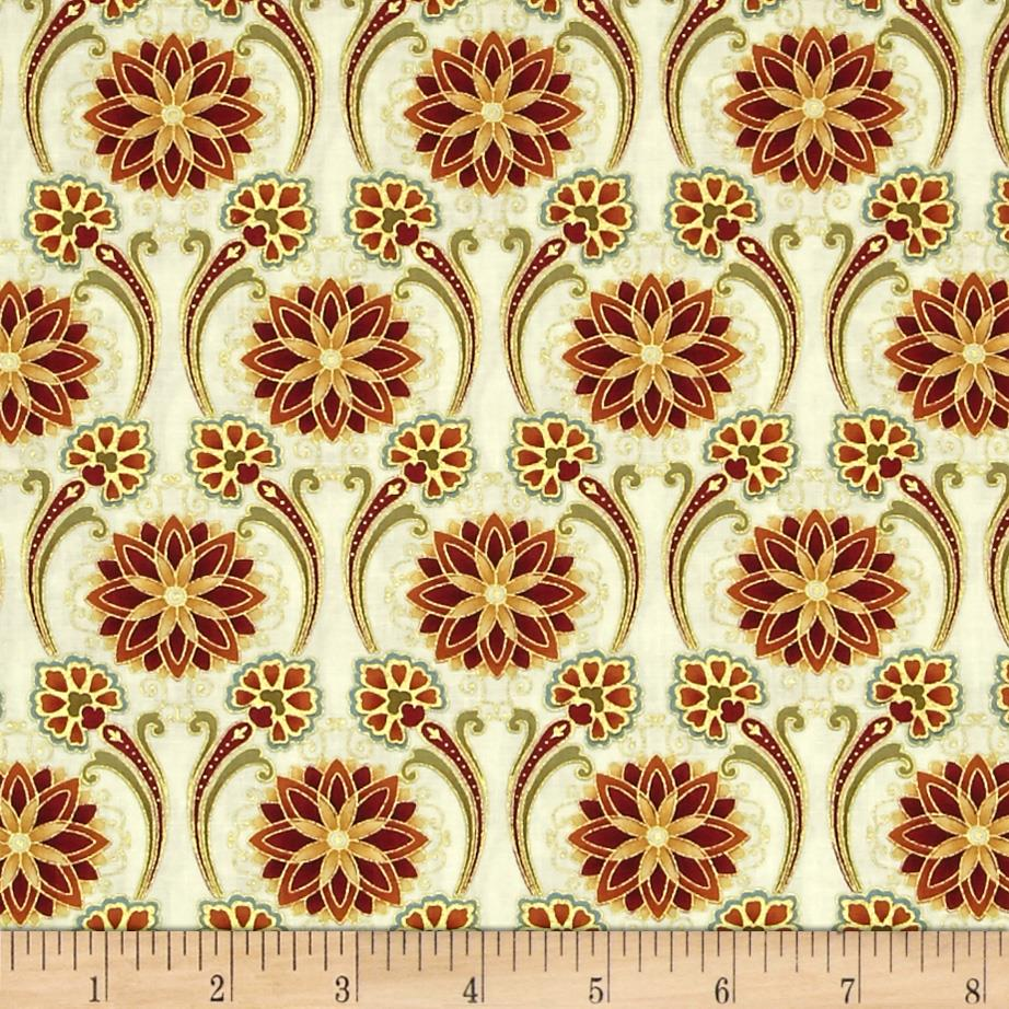 Timeless Treasures Kyoto Blossoms Metallic Floral Medallion Cream