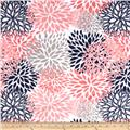 Shannon Premier Prints Mockingbird Minky Cuddle Blooms Coral