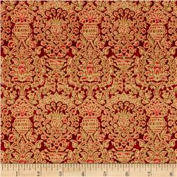 Seasons Greetings Damask Red