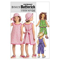 Butterick Children's/Girls Top, Dress, Pants and Hat Pattern B5019 Size CDD