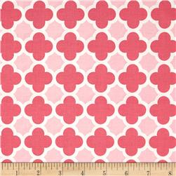 Riley Blake Quatrefoil Hot Pink/Baby Pink Fabric