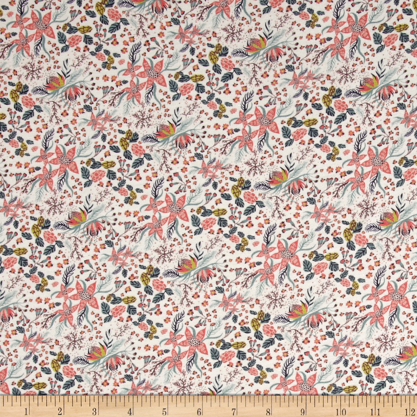 Liberty of London Jersey Knit Bleach Blossom Coral Fabric by Liberty Of London in USA