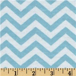 Little Nursery Flannel Chevron Ligth Blue/White