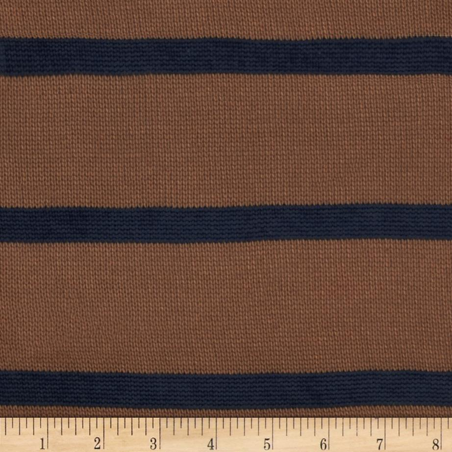 Designer Sweater Knit Stripes Navy/Tan