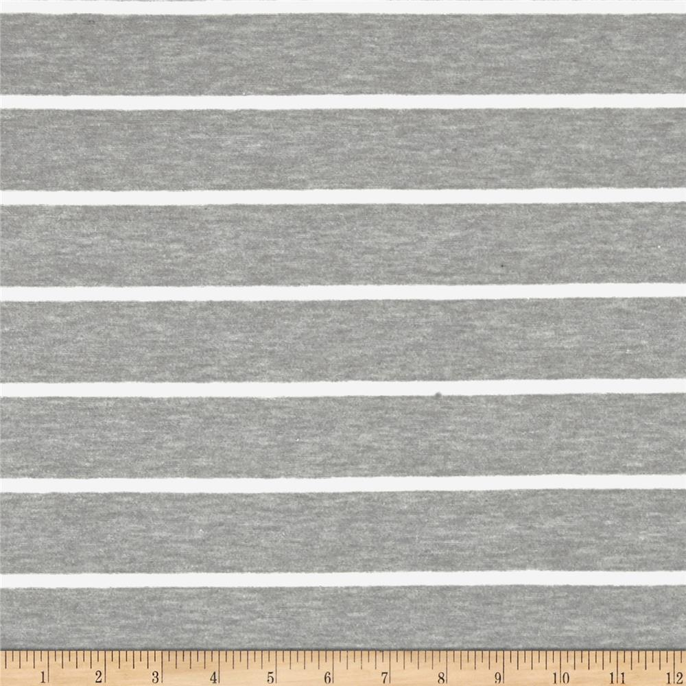Rayon Spandex Jersey Knit Stripes Gray/White
