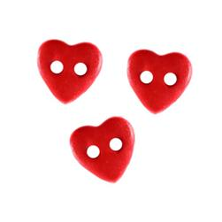 Novelty Buttons 3/8'' Petit Hearts Red