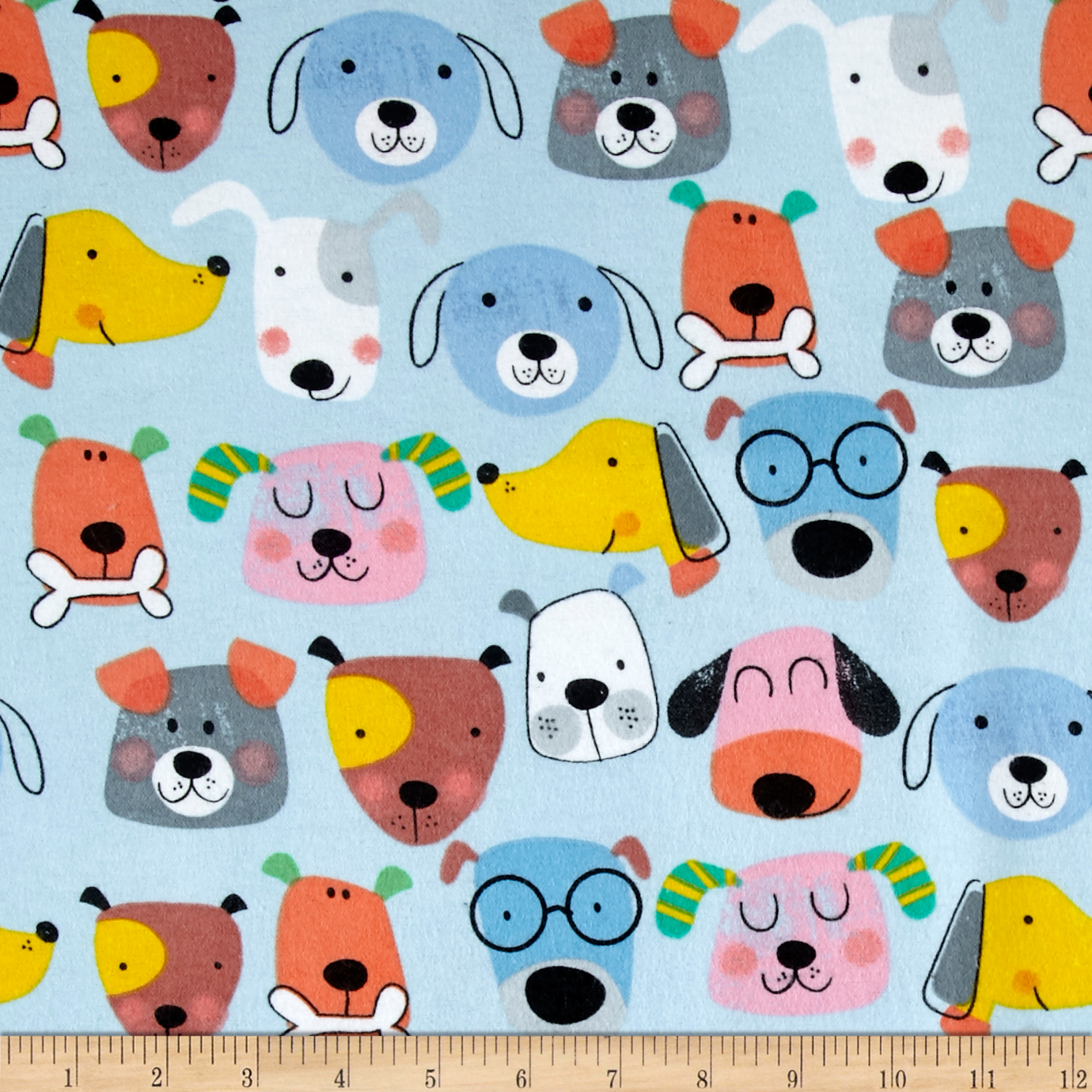 Comfy Flannel Dog Faces Blue Fabric