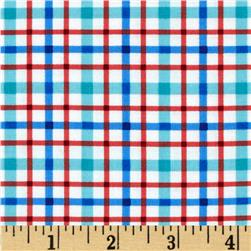 Barnegat Bay Plaid White/Blue/Red Fabric