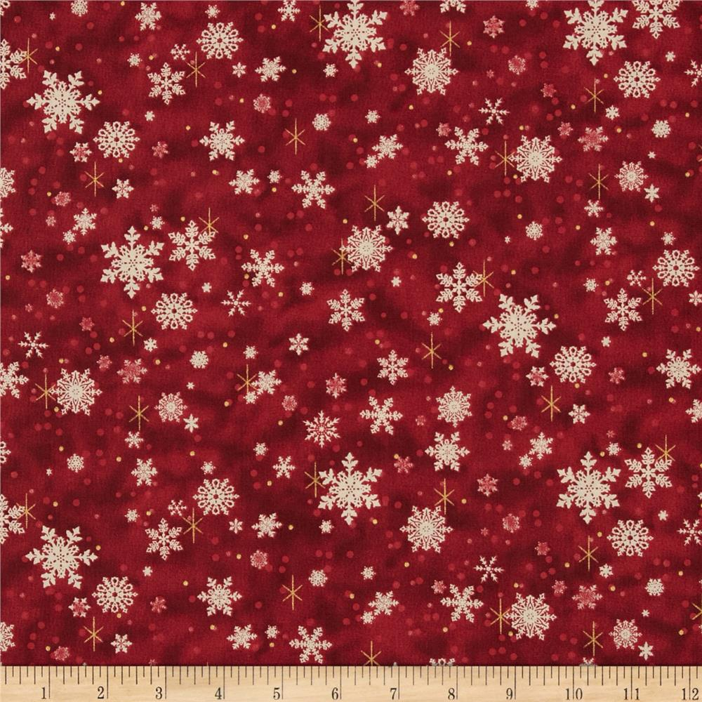 Father Christmas Metallic Snowflakes Red