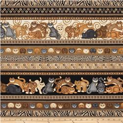 Wildcats Cat Border Stripe Brown