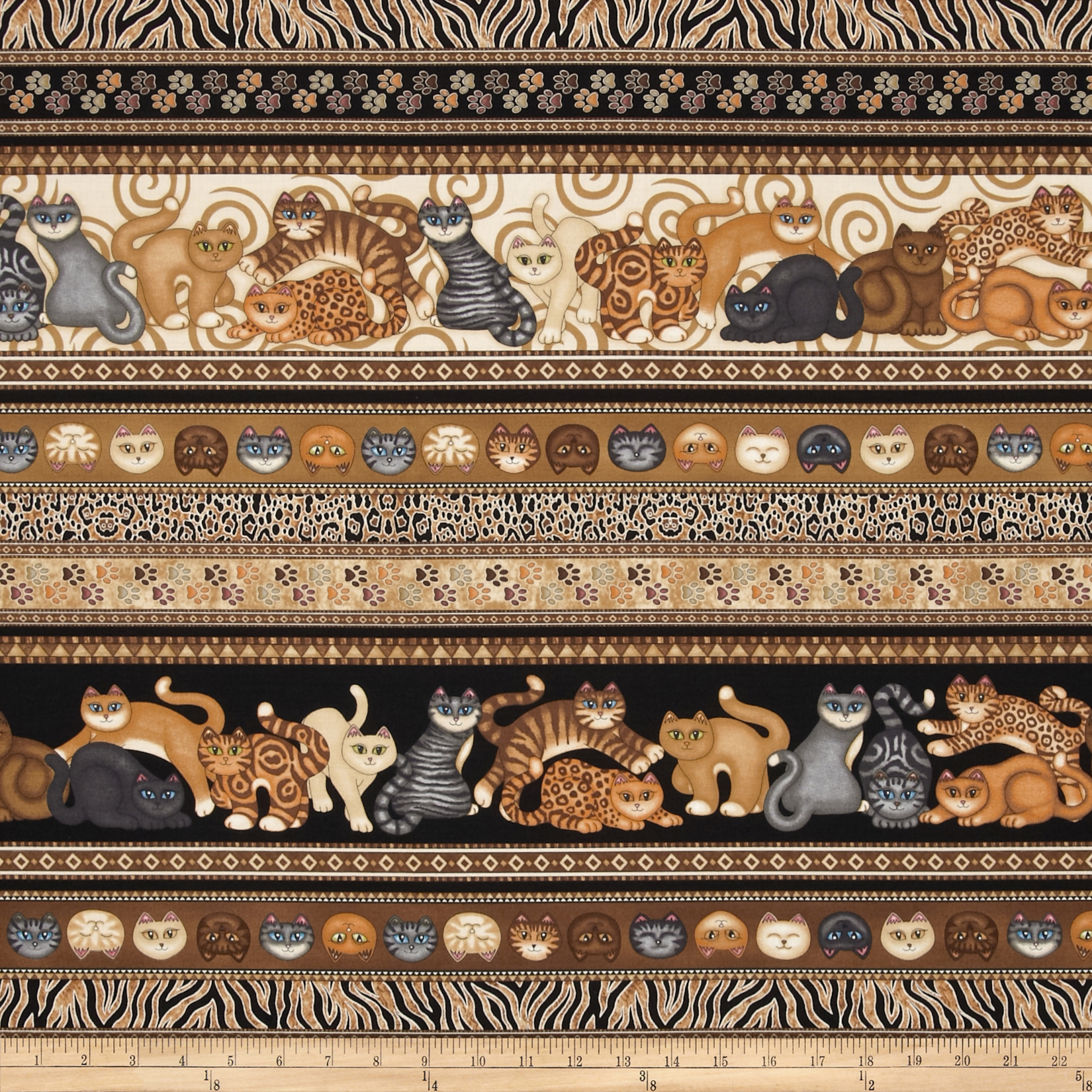 Wildcats Cat Border Stripe Brown Fabric