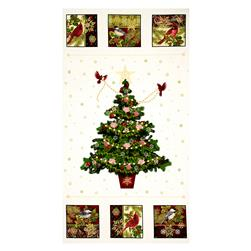"Art Loft Holiday Flair Metallic 23.5"" Tree Panel Cream"