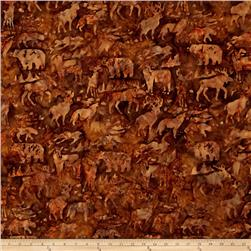 Island Batik Woodland Animals Brown