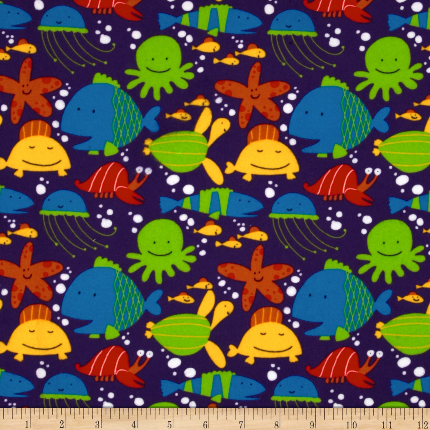 Beach Flannel Tossed Sea Creatures Ocean Purple Fabric