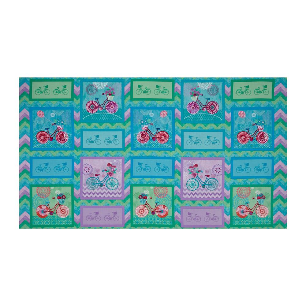 Enjoy The Ride Blocks 24 In. Panel Teal Fabric By The Yard