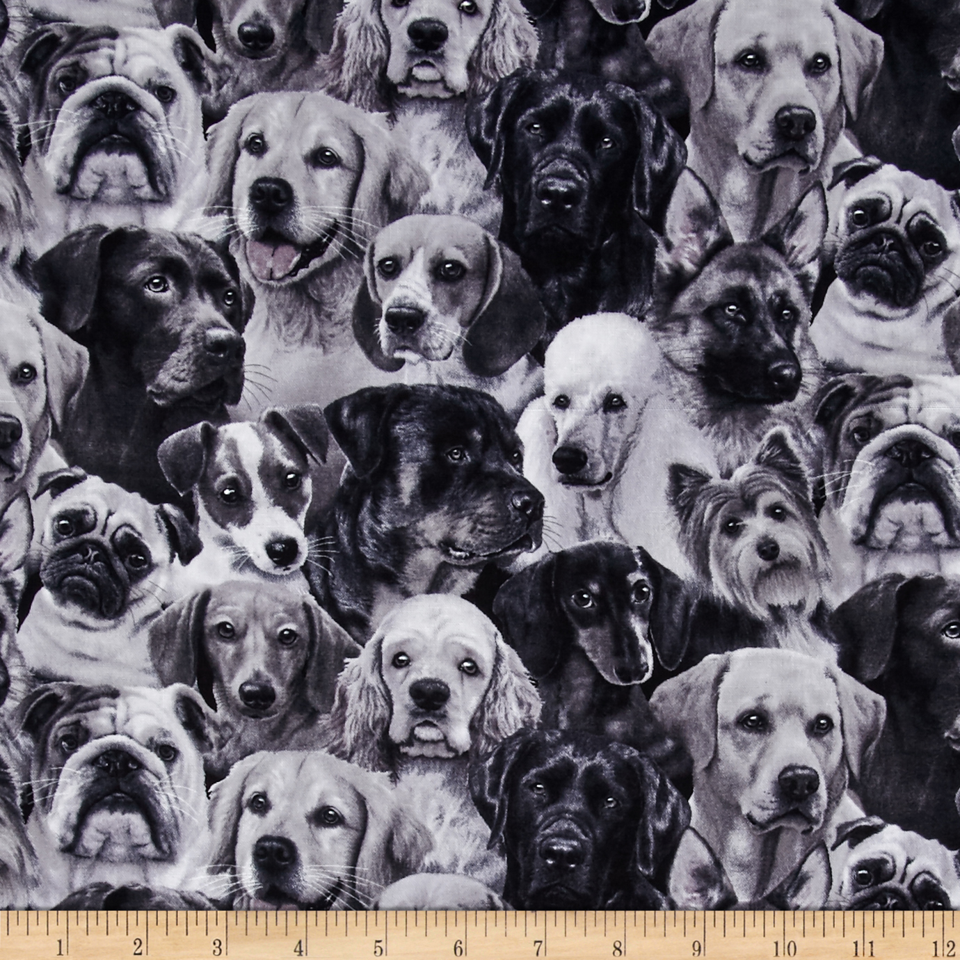 Dog Breeds Packed Dogs Gray Fabric