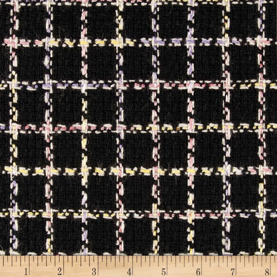 Wool Blend Boucle Coating Plaid Black