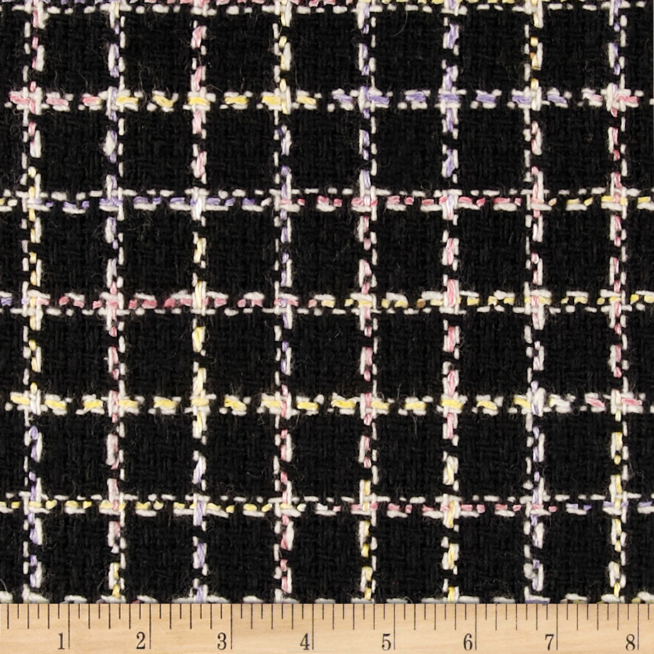 Wool Blend Boucle Coating Plaid Black Fabric