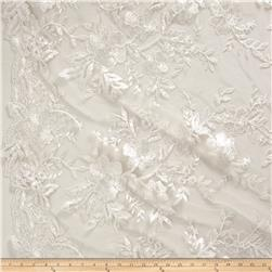 Stretch Floral Embroidered Mesh Lace Ivory