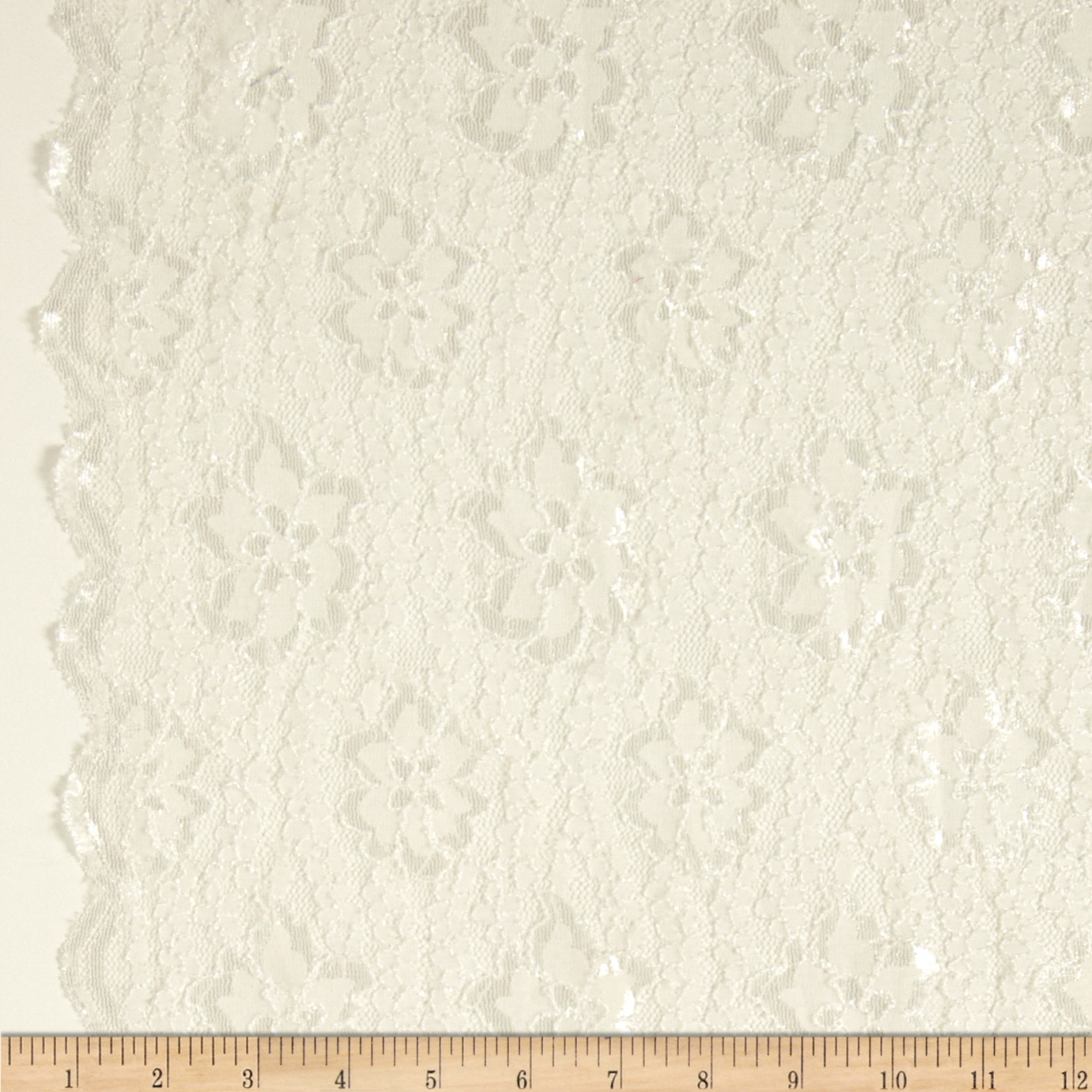 Designer Stretch Scalloped Lace Off White