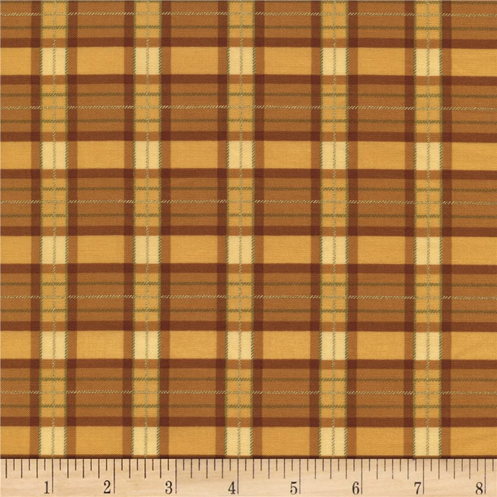Timeless Treasures Golden Harvest Metallic Plaid Gold