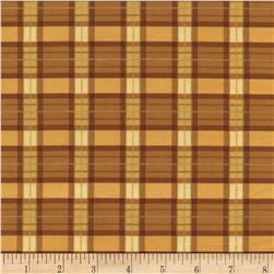 Timeless Treasures Golden Harvest Metallic Plaid Gold Fabric