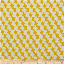 Charmeuse Satin Geometric Houndstooth Yellow/White