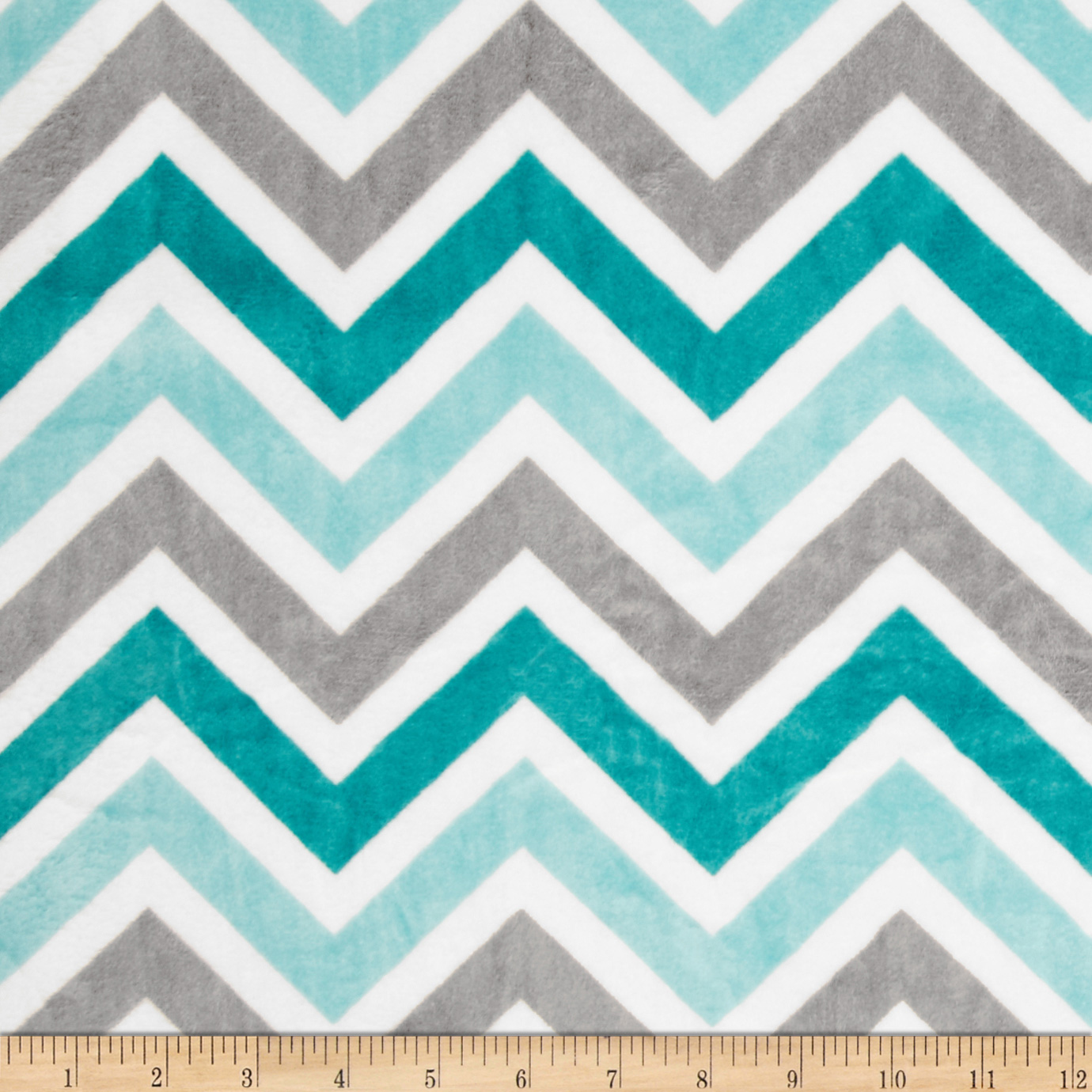 Minky Cuddle Zig Zag Topaz/Charcoal/Snow Fabric