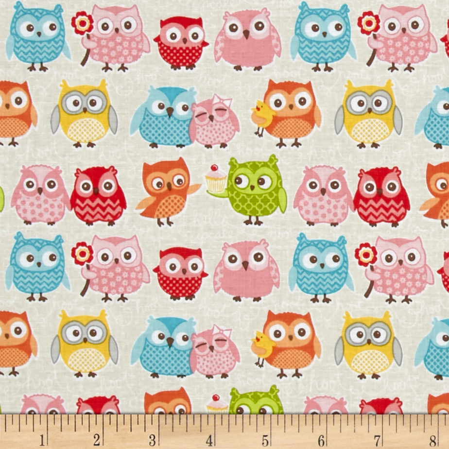 Riley Blake Tree Party Owls Cream Fabric by Christensen in USA