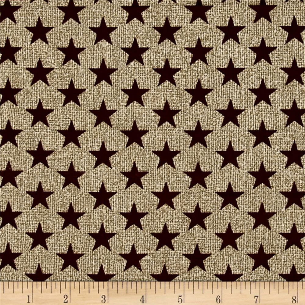 Oh My Stars Weathered Medium Stars Linen/Dark Red