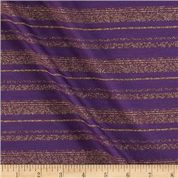 Tissue Metallic Stripe Jersey Knit Gold/Purple