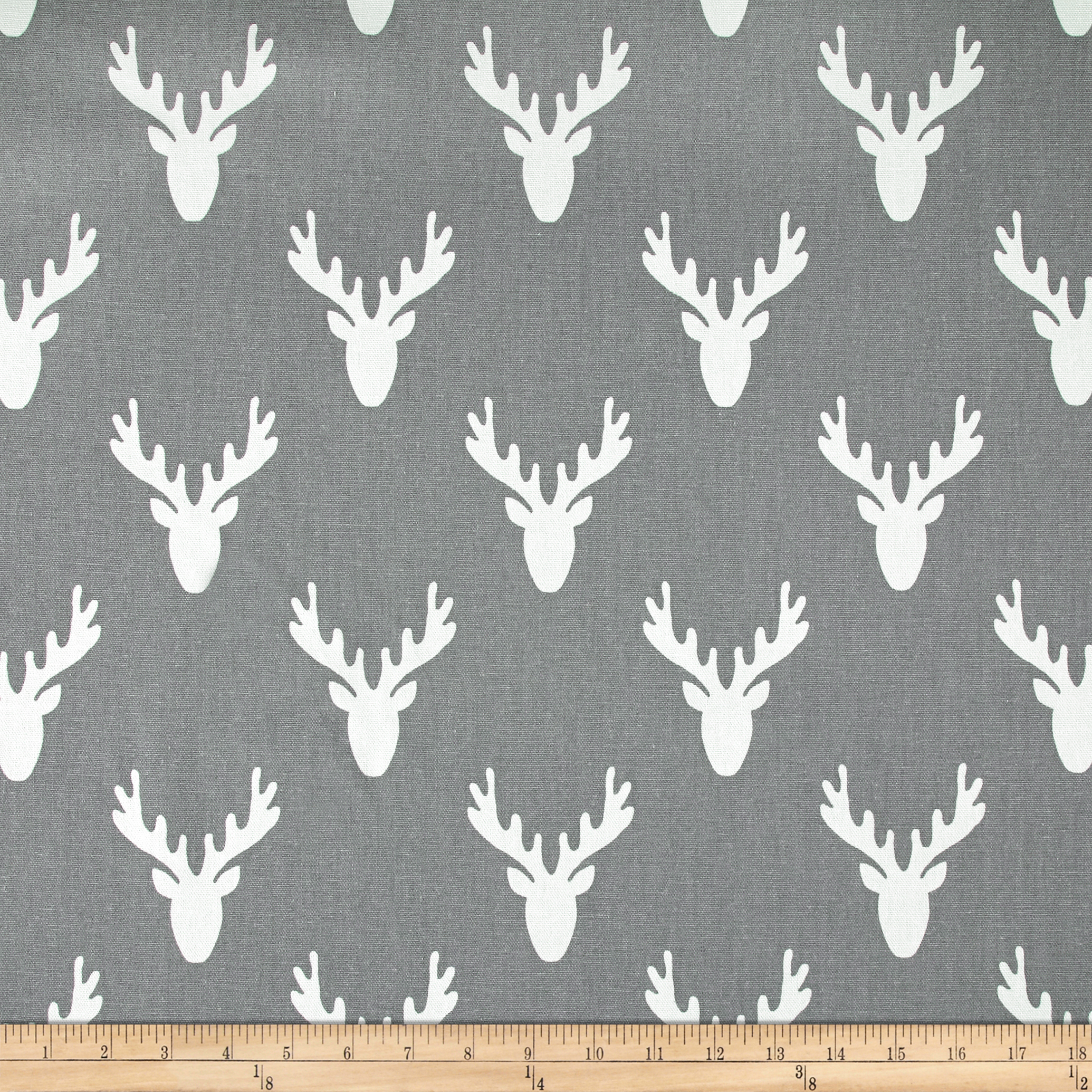 Premier Prints Antlers Cool Grey Fabric by Premier in USA