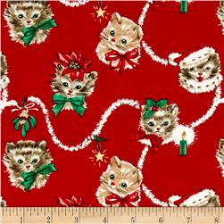 Michael Miller Holiday Kitty Garland Red