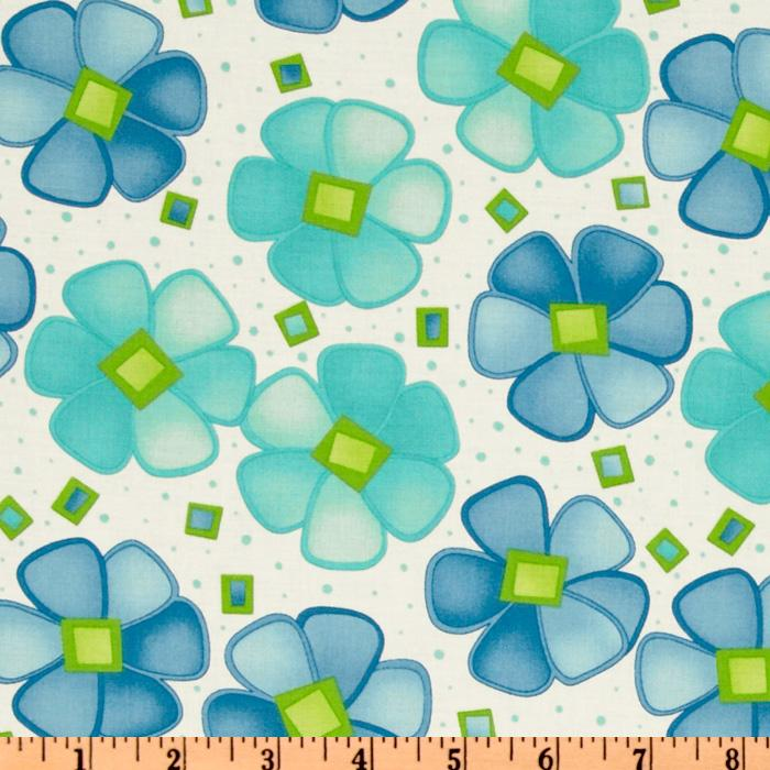 Moda Twirl Twirling Flowers Blue