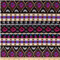 Stretch ITY Jersey Knit Aztec Black/Magenta