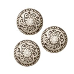 Metal Button 5/8'' Pembroke Antique Silver