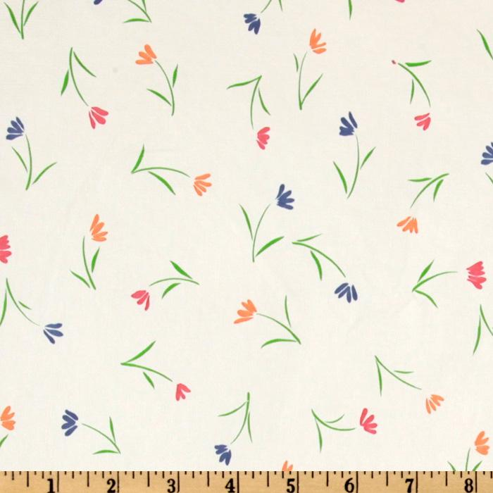 Flannel Backed Vinyl Wildflowers White