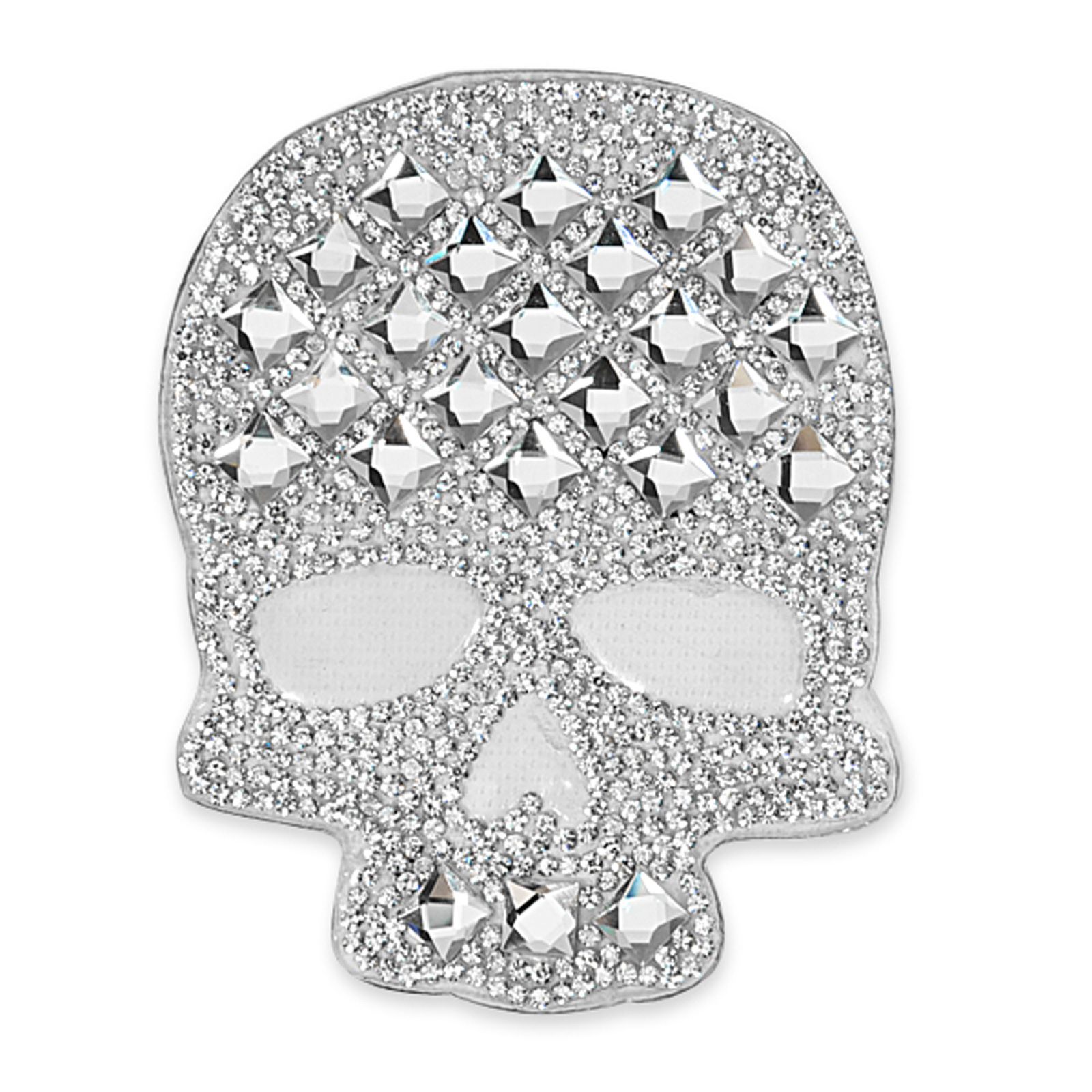 4 1/8'' x 3 1/8'' Iron On Rhinestone Skull Applique by Expo in USA