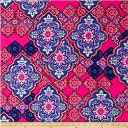 Liverpool Double Knit Print Bohemain Fuchsia/Royal/Pink
