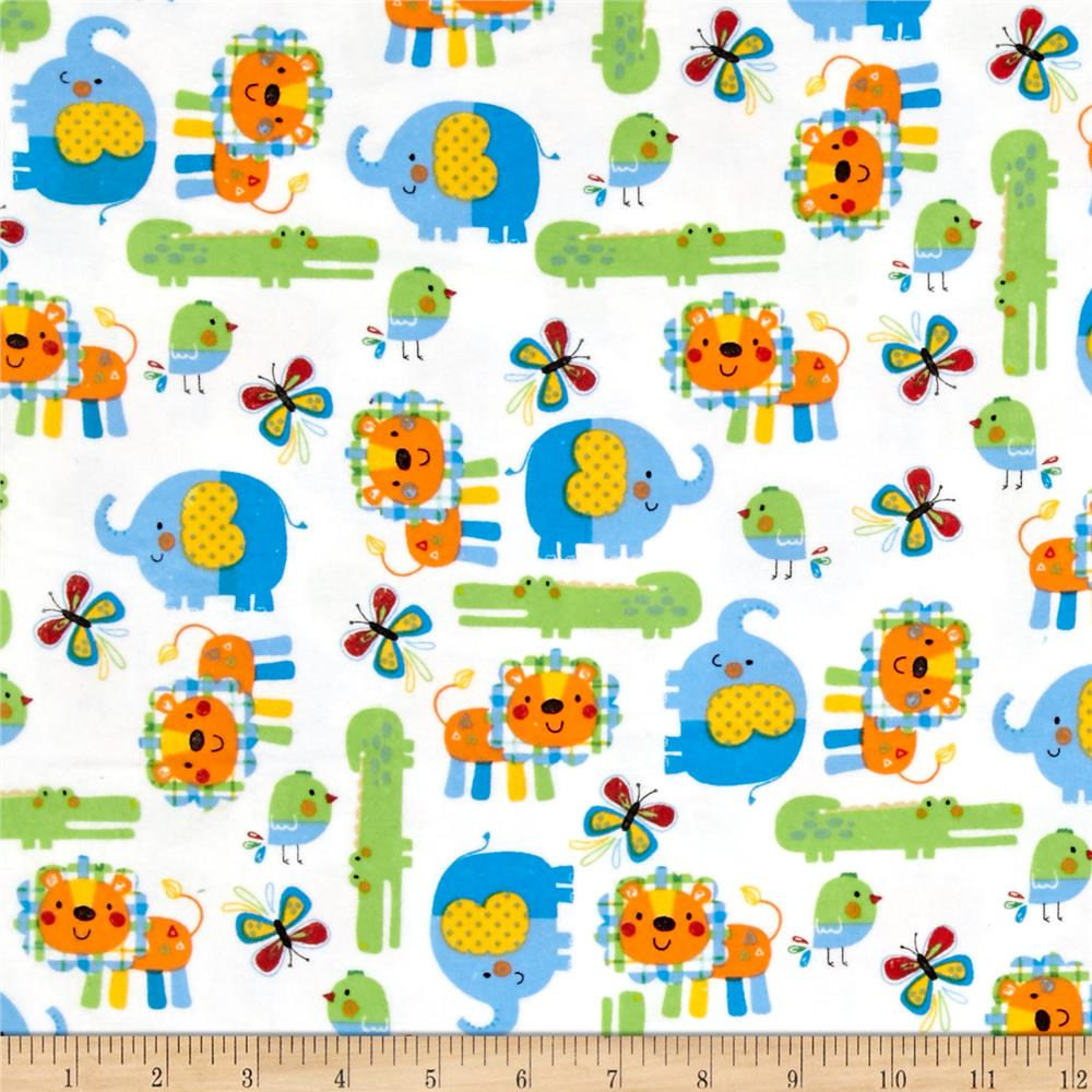 Zoo Mates Flannel Animal Allover White/Multi Fabric