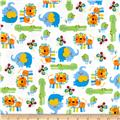Zoo Mates Flannel Animal Allover White/Multi