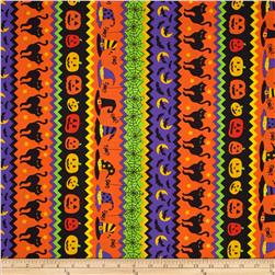 Timeless Treasures Night Crawlers Halloween Stripe Multi