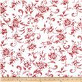 "108"" Wide Whisper Print Floral Toile Red"
