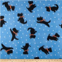 Fleece Print Scotty Dogs Blue Fabric
